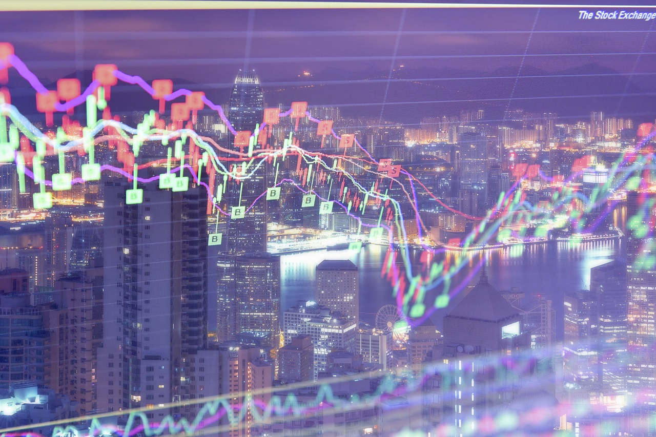 Stock market on display,real estate crisis,Covid-19 Financial Market Concepts