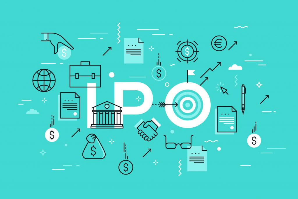 Initial public offering or stock market launch. IPO word surrounded by dollar and euro coins, bank building, briefcase. Modern infographic banner with elements in thin line style. Vector illustration.