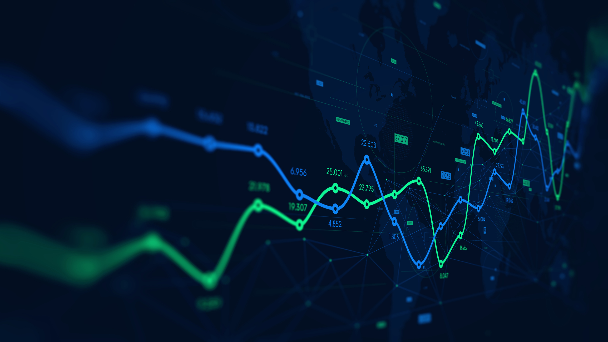 Market_Digital analytics data visualization, financial schedule, monitor screen in perspective for presentations