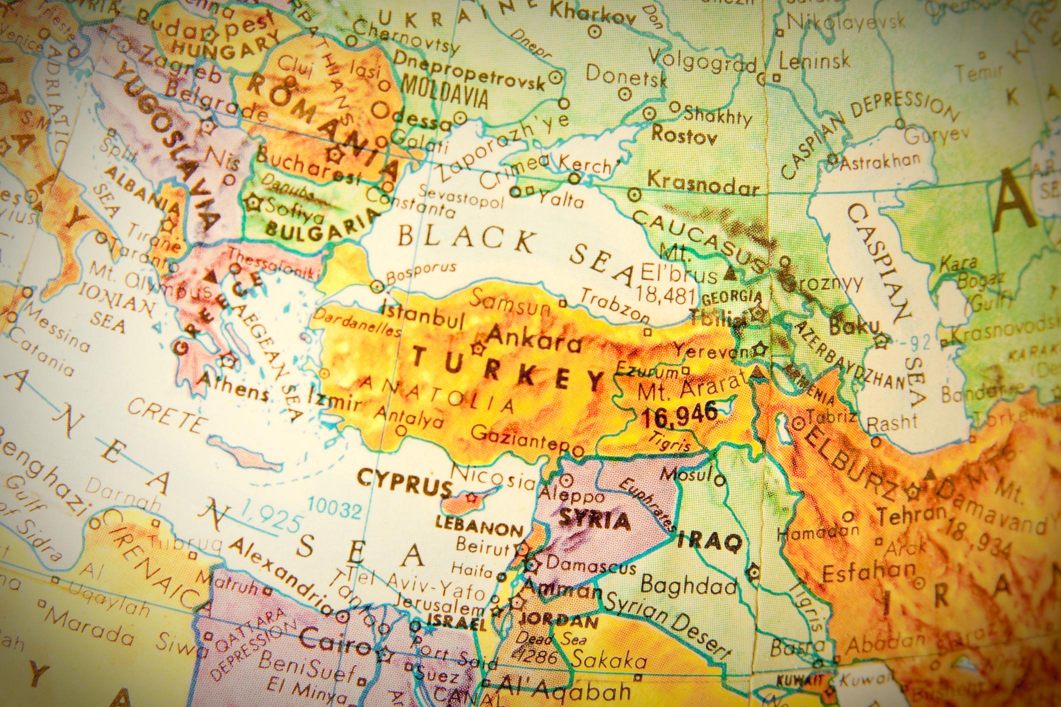 Studying geography - Photo of Turkey on retro globe.
