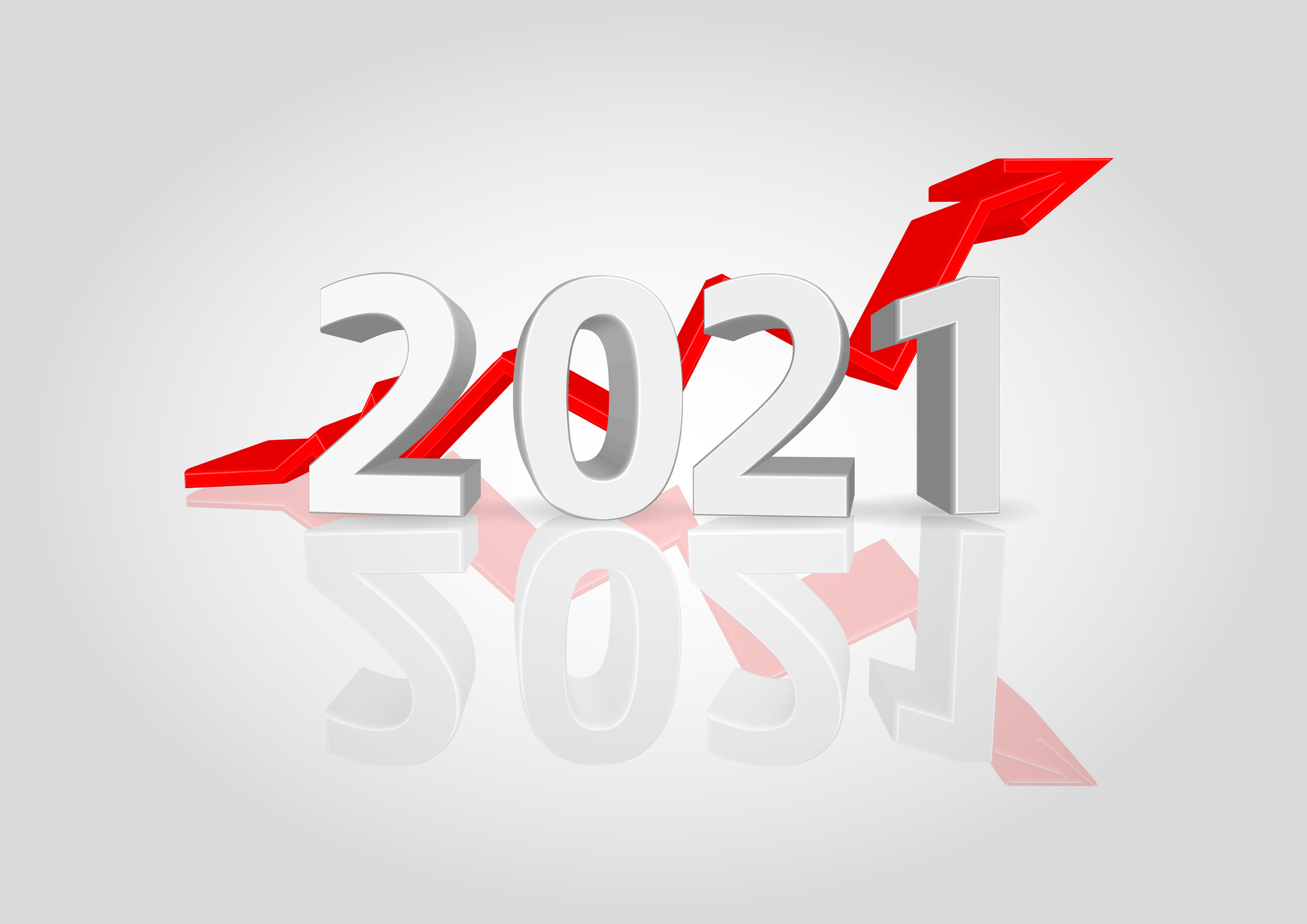 The New Year's card for 2021 - 3D three-dimensional numerals with rising arrows on a white background