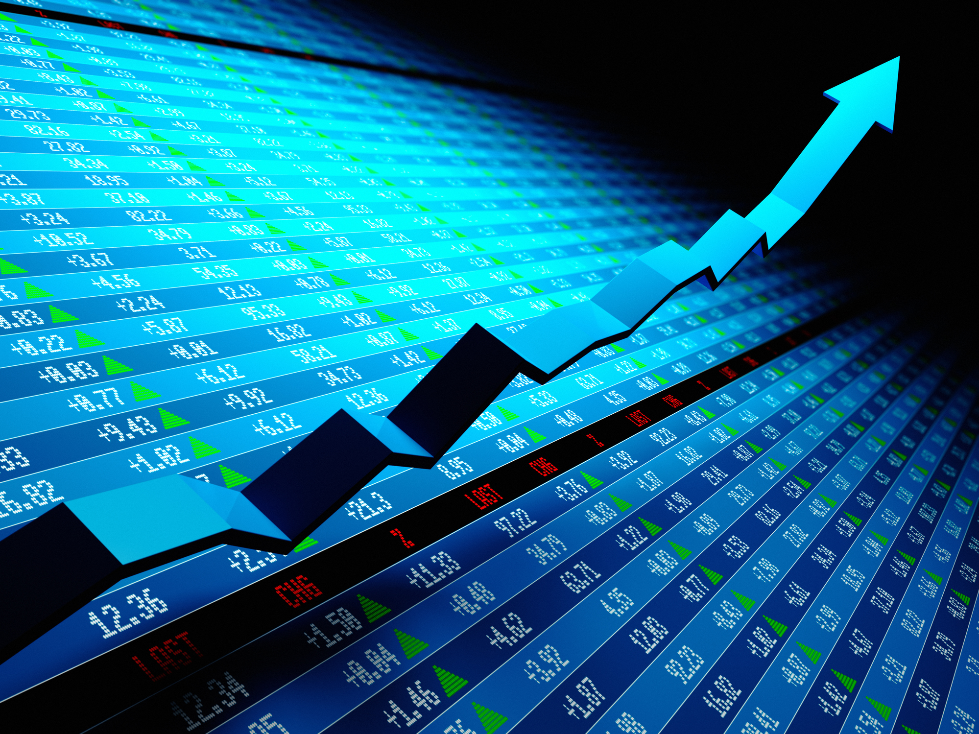 Financial_Stock market data with uptrend vector. Shallow depth of field 3d render.Similar images: